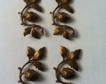 4 Solid Brass Strawberry Embellishment Stampings Findings