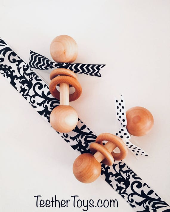 TOM-TOM TEETHER™ -  Black & White - Wooden Rattle - Newborn Teether - Teething Toy - Early Learning - Preemie Toy - Organic Teether
