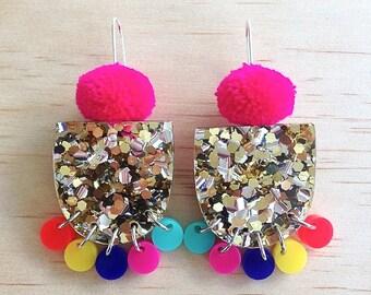 Pom Pae Lush Drop Earrings - Hot Pink