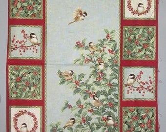 "Chickadee & Berries Bird Holiday Christmas Panel  23""  x 44"""