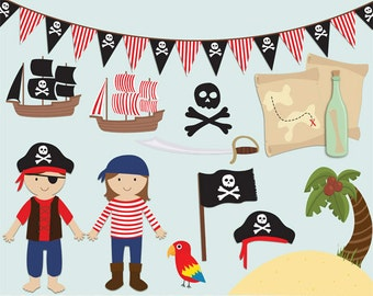 Pirate clip art images, pirate clipart, pirate vector, royalty free clip art- Instant Download