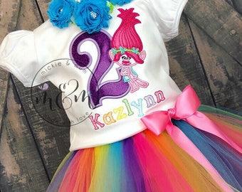 Troll Birthday Outfit | Trolls Birthday Outfit | Girl Birthday Shirt | Trolls Birthday Shirt | Rainbow Birthday | Smash Cake Birthday Outfit