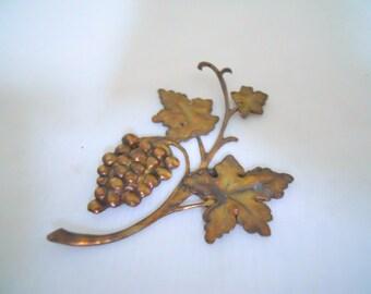 Vintage Brass Grape Vine Stamping