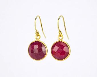 Custom Gemstone Earrings, Ruby Earrings, July birthstone earrings, bridesmaid gift ideas for her, red earrings, gift for women, girlfriend