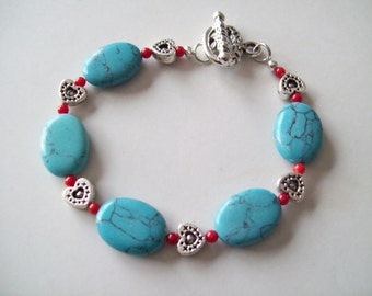 Silver, Red, Turquoise-colored Stone and Hearts Bracelet Gift for Her