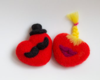 Needle Felted Heart with Mustache - Heart with Moustache,  heart with haircut Valentine's Day Heart with message gifts for women, ornament,