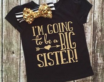 I'm Going To Be A Big Sister Shirt, Big Sister Shirts, Sister Shirts, Baby Shower Gifts Sisters, Promoted To Big Sister, Birth Announcement