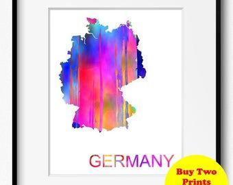 Germany Watercolor Map Art Print (521) Europe