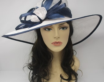 White  with Navy Blue  Kentucky Derby Hat, Church Hat, Wedding Hat, Easter Hat, Tea Party Hat Wide Brim Woman's Sinamay Hat