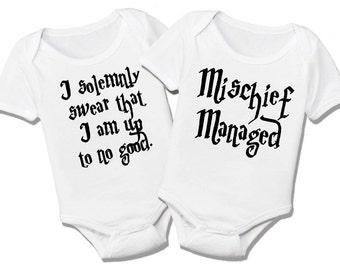 Harry Potter Marauder's Map Twins Organic Bodysuit Gift Set