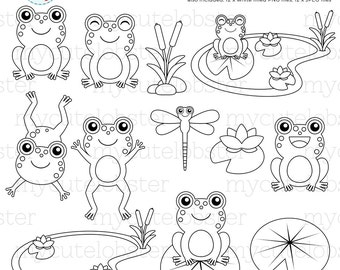 Frogs Digital Stamps - frog line art, cute frogs outlines, dragonfly, pond, stamps - personal use, small commercial use, instant download