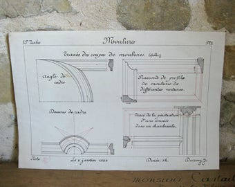 Antique pen and ink drawing of architectural trims 'Moulures', French technical drawing dated  1923