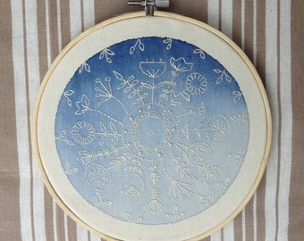 Mandala watercolor blue embroidery