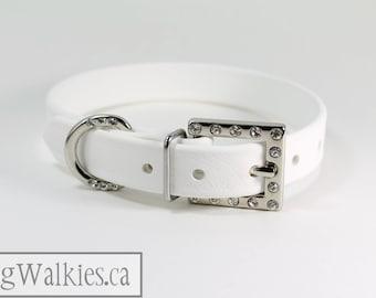 """Elegant Dog Collar // Rhinestone Buckle // White Leather Like // Custom Wedding dog collar // 3/4"""" - 19mm wide"""