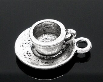 8 Cup Saucer Coffee Tea Drink Antique Silver Charms 15mm x 19mm (223)
