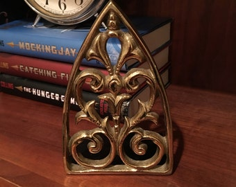 Vintage Brass and Metal Scroll Triangle Single Bookend