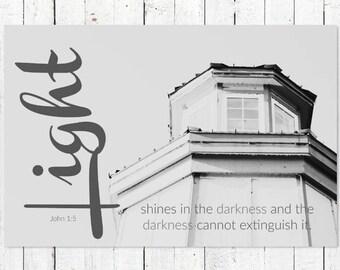 Christian Wall Art | Bible Verse Scripture Art Print | Nautical Wall Decor | Inspirational Black + White Photography Prints | John 1:5