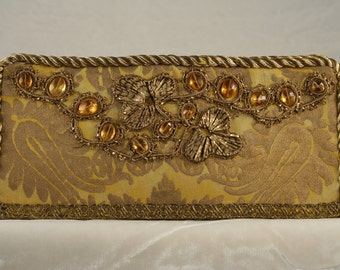 Clutch of 19th c. French applique on vintage Fortuny fabric  9351