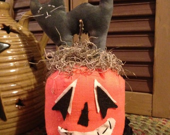 Primitive Halloween Cat on top of a Pumpkin, Handmade