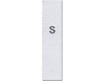 25-woven textile size labels, size S, white