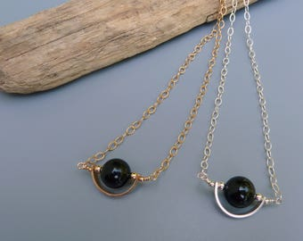 Solar Eclipse Necklace, Lunar Eclipse, Sun and Moon, Black Onyx Necklace, Celestial Necklace,Silver Eclipse,Gold Eclipse,Unique Gift For Her