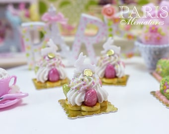 MTO-Easter St Honoré Pastry with Candy Bunny and Eggs - 12th Scale Miniature Food