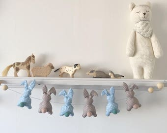 Garland rabbits shades beige and blue triangle pattern