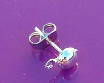 10-50x Silver ball and loop earring posts half blanks rhodium plated Pierced Looped stud Bullet/rubber backs jewellery making Findings UK