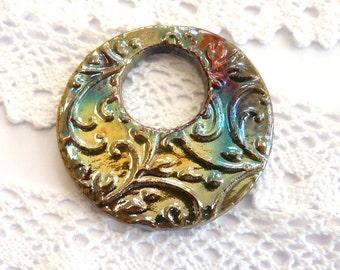 Raku pendant ~ ceramic pendant, donut pendant, handmade jewelry making supplies, focal pendant, jewellery component, unique boho pendant