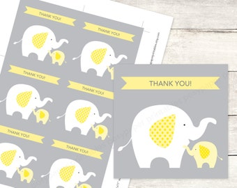 elephant baby shower favor tags printable DIY baby elephants favour tags yellow grey cute thank you cards - INSTANT DOWNLOAD