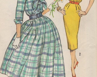 Bust 34-1960's Misses' Dress With Tie Simplicity 2580 Size 14