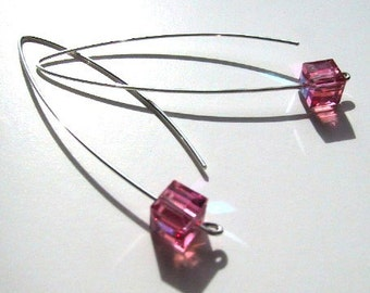 Cotton Candy Pink crystal cube sterling silver earrings