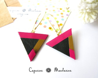 Triangle - gold dark green Fuchsia leather earrings