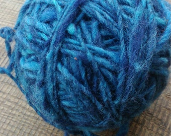 Hand spun wool blue