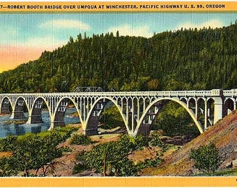 Vintage Oregon Postcard - Robert A. Booth (Winchester) Bridge over the North Umpqua River (Unused)