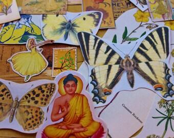 25 Mixed Yellow Ephemera pieces, scrap booking, collaging