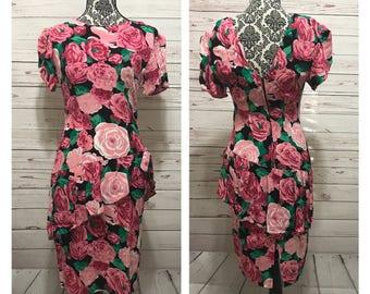 Vintage 80s Dress | 80s Party Dress | Peplum Dress