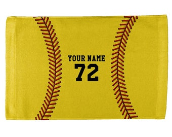 Custom Softball Your Name and Number All Over Sport Towel