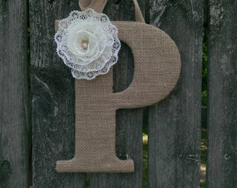 Monogram Door Hanger, Burlap Letter, Monogram Wreath, Letter Wreath, Wedding Monogram