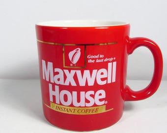 Café instantané Maxwell House en tasse à café blanche Angleterre FTC rouge