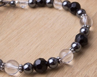 Monochrome gemstone bracelet - Hematite and clear crystal quartz bracelet | Hematite jewellery | Quartz jewelry | Black bead bracelet