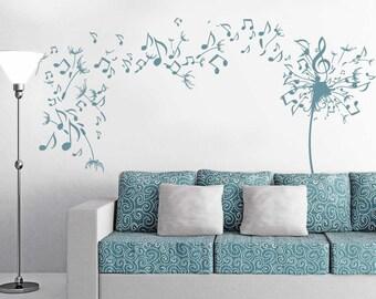 Musical Dandelion Wall Decal Sticker Art