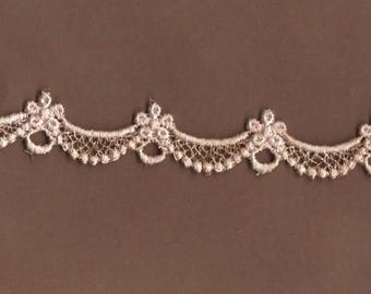 Hand Dyed Petite Bridal Swag Venise Lace   Vintage Blush