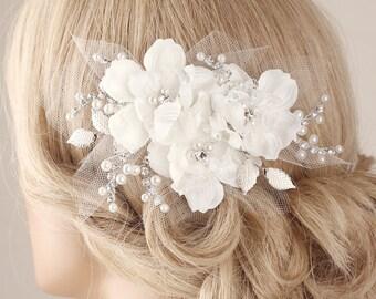 Bridal hairpiece, flower hair clip, Bridal hair clip, flower hair piece, lace hair accessory, wedding headpiece, wedding hair clip