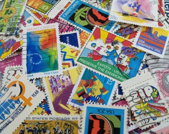 40 Vintage Postage Stamps,  Stamps of mixed bright colors, Postage Stamps, Craft Stamps