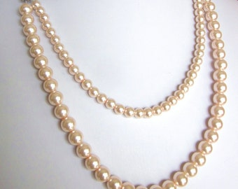 "Double Strand Necklace - Elegant Pearls ""Your Choice of Color"" -Perfect for Bride, Bridesmaid, Mother of the Bride, Prom or Formal, SRAJD"