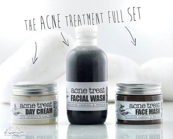 ACNE TREATMENT Organic Full Set •  Facial Wash, Facial Mask, Day Cream • Acne fighting & break outs prevention • Elixirium Organic Skincare