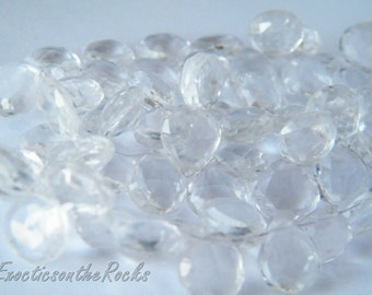 Clear Rock Crystal Quartz Faceted Pear Briolettes. Crystal Semi Precious Gemstone Briolettes. 9-10mm Faceted Heart Beads. 6 Bead Strand