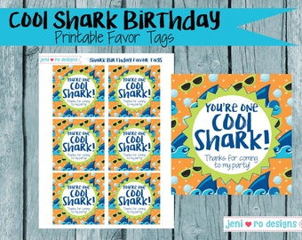 Cool Shark Birthday Party Printable Favor Tags.  Instant Download!