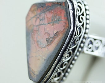 Size 10 GENUINE CANADIAN AMMOLITE (Nickel Free) 925 Fine S0LID Sterling Silver Ring & Free Worldwide Express Shipping r1668